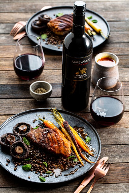 Crispy duck breasts with orange and red wine sauce